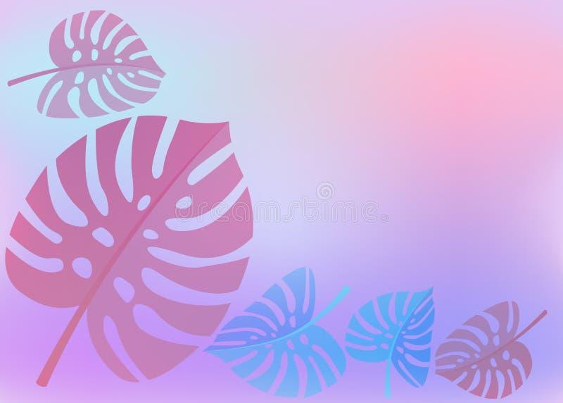 Bandeiras coloridas do verão, fundos tropicais com palmas, folhas, monstera, nuvens, céu, cores Cartões de horas de verão bonitos ilustração royalty free