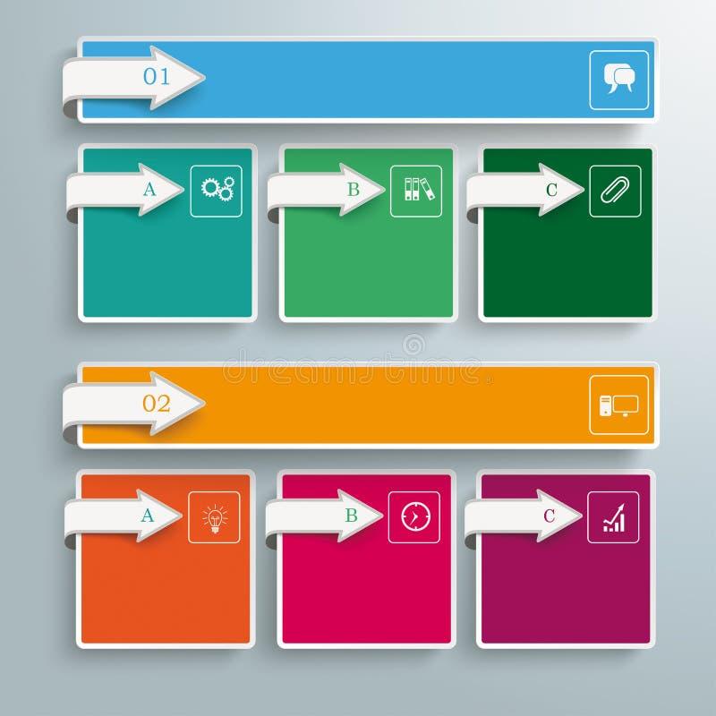 2 bandeiras coloridas 6 setas dos quadrados ilustração stock