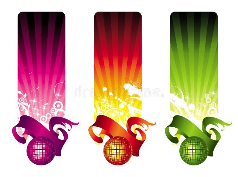 Bandeiras coloridos do disco ilustração do vetor
