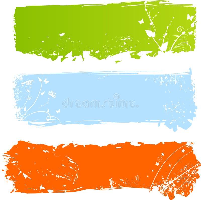 Bandeiras coloridos sujas com florals ilustração stock