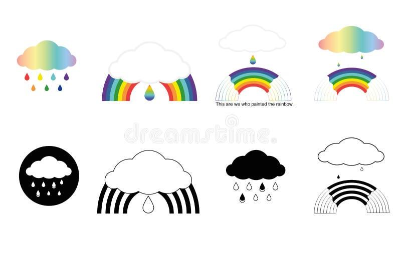 Bandeiras com arcos-íris, nuvens, gotas ilustração royalty free