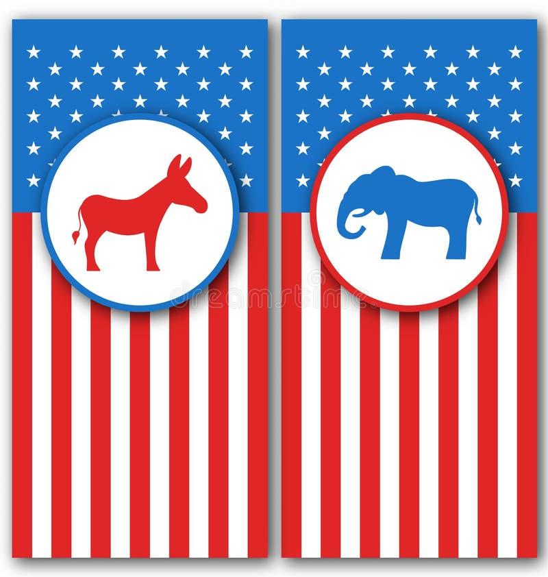 Bandeiras com asno e elefante como um voto dos símbolos dos EUA Partidos políticos do Estados Unidos ilustração royalty free
