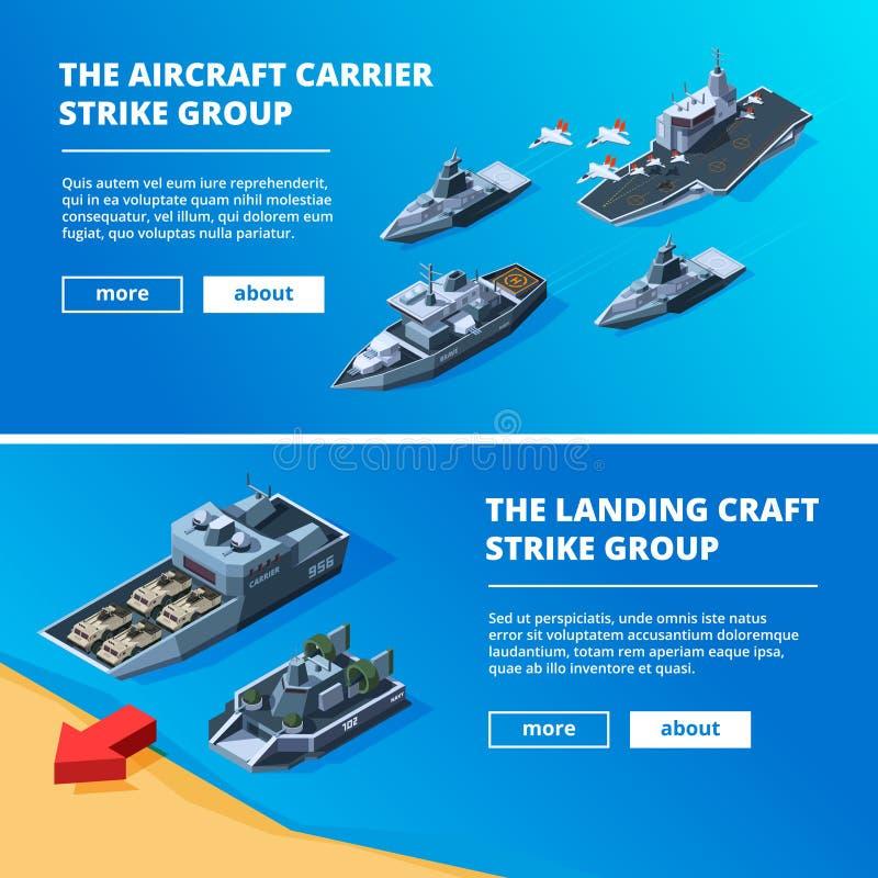 Bandeiras com barcos militares Imagens do vetor dos navios de guerra ilustração royalty free