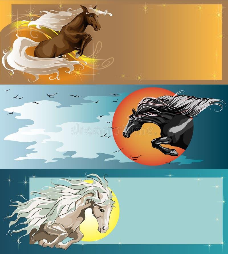 Bandeiras com cavalos de salto ilustração royalty free