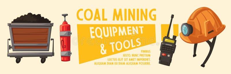 Bandeiras com ferramentas da mineração Inventário do ` s do trabalhador cartoon ilustração do vetor