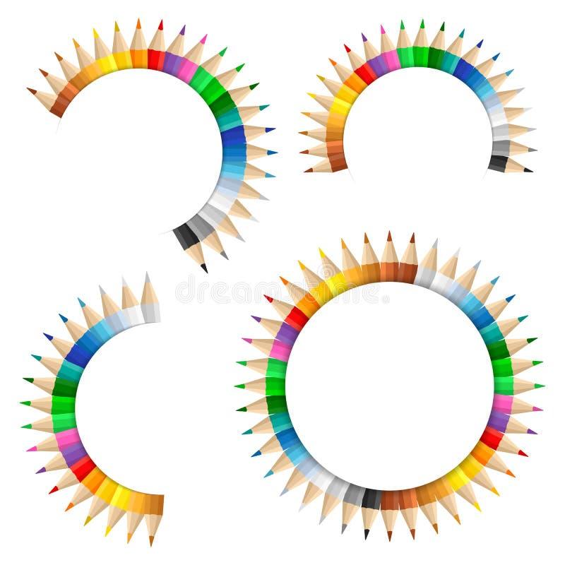 Bandeiras com lápis coloridos ilustração do vetor