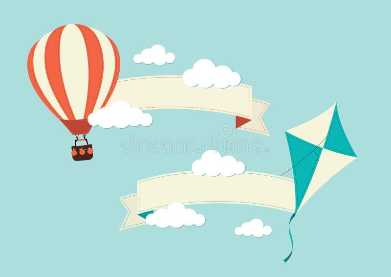 Bandeiras com o balão e o papagaio de ar quente ilustração stock