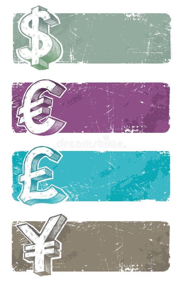 Bandeiras com sinais de moeda desenhados mão