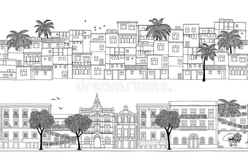 Bandeiras com sul - casas americanas da cidade ilustração stock