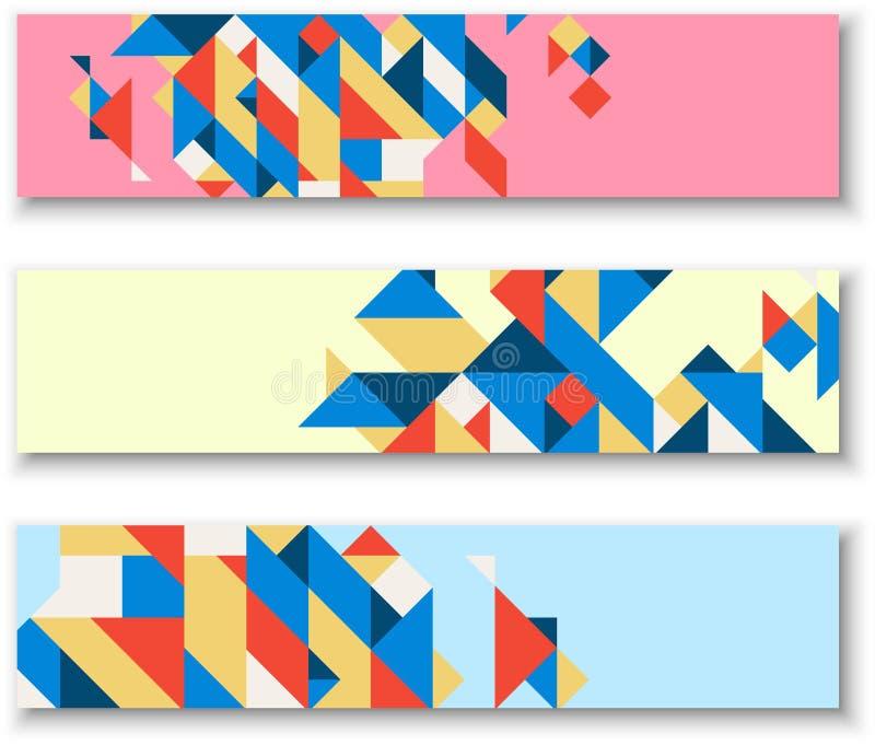 Bandeiras com teste padrão geométrico colorido abstrato ilustração royalty free