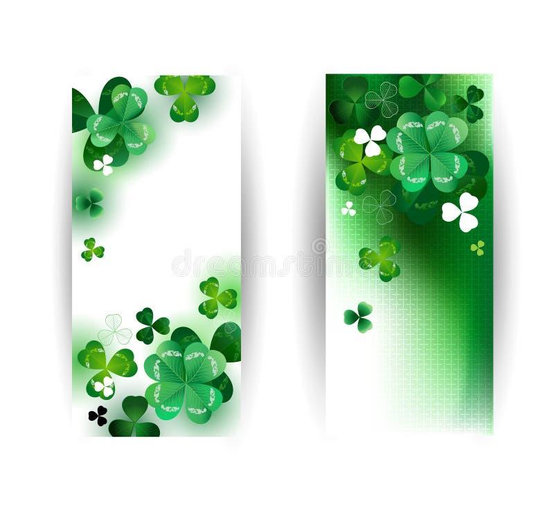 Bandeiras com trevo verde ilustração stock