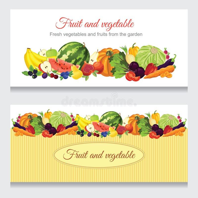 Bandeiras com a vários fruto, baga e vegetais ilustração stock