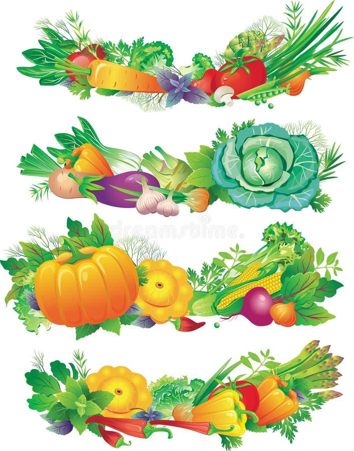 Bandeiras com vegetais ilustração stock