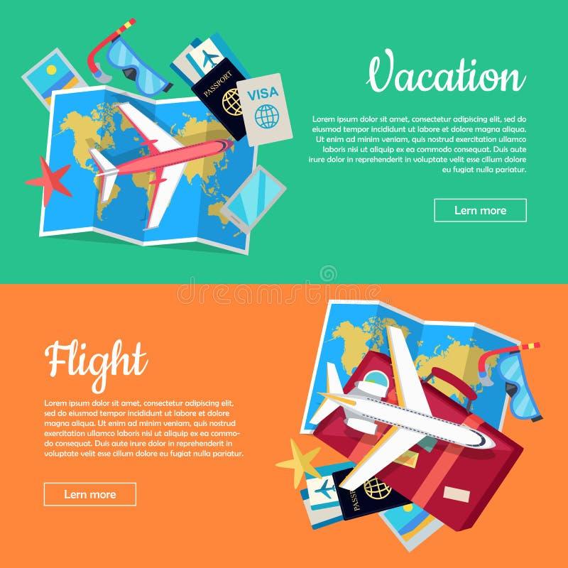 Bandeiras conceptuais da Web para a agência de viagens ilustração stock