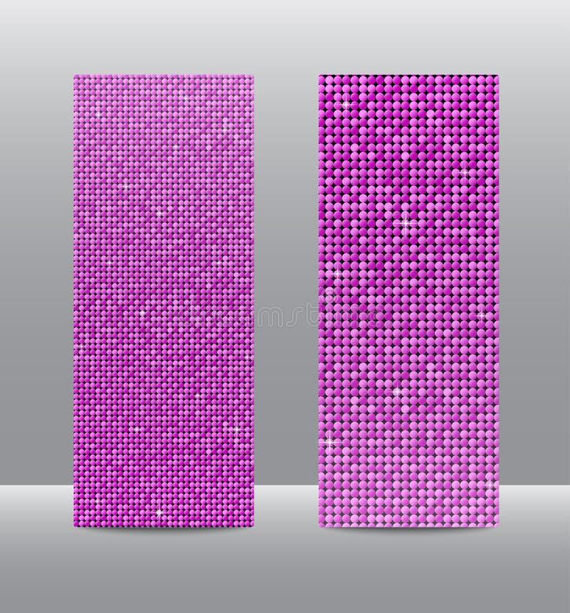 Bandeiras cor-de-rosa ajustadas das lantejoulas do vertical glitter ilustração royalty free