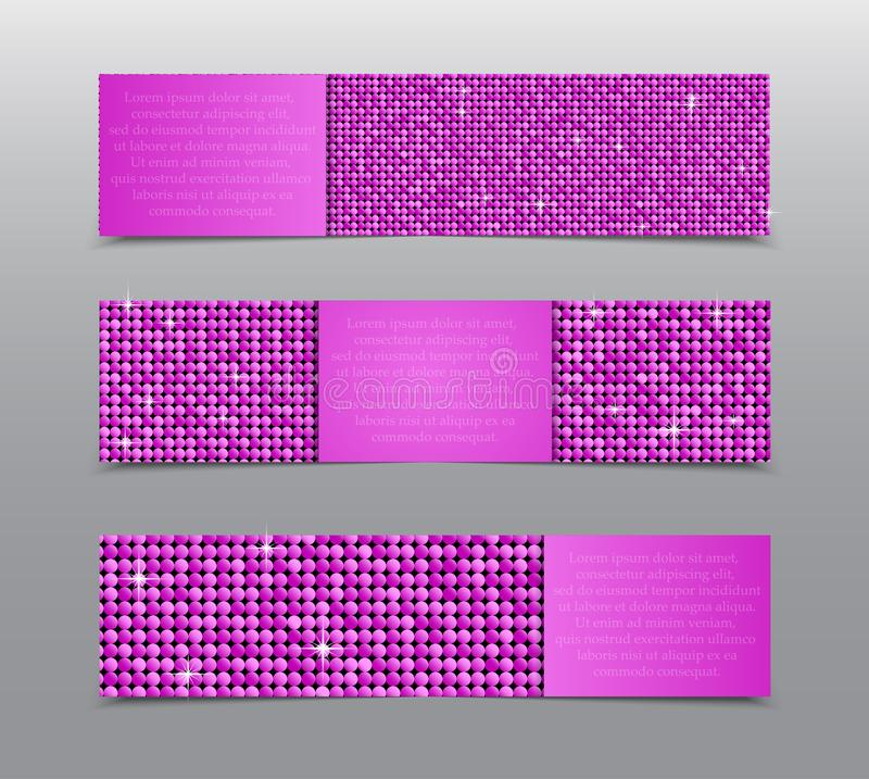 Bandeiras cor-de-rosa das lantejoulas Cartão, folheto, ponta de prova ilustração do vetor