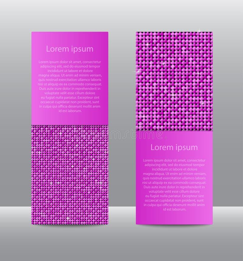 Bandeiras cor-de-rosa das lantejoulas Cartão, folheto, ponta de prova ilustração royalty free