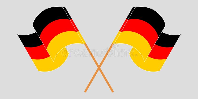 Bandeiras cruzadas e de ondulações de Alemanha ilustração stock
