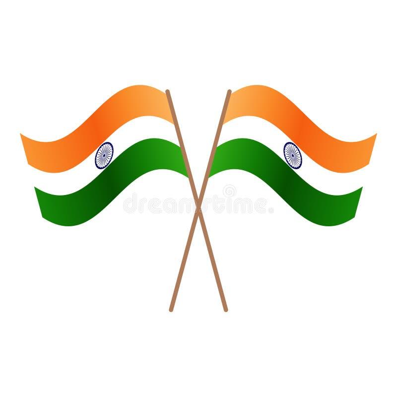 Bandeiras cruzadas simétricas da Índia ilustração do vetor