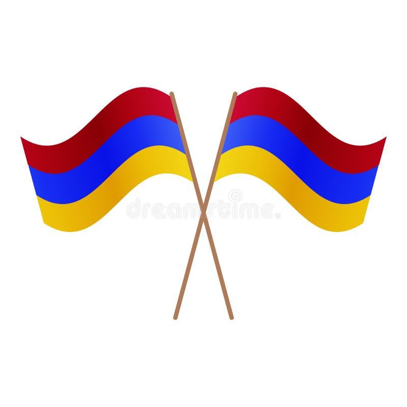 Bandeiras cruzadas simétricas de Armênia ilustração royalty free