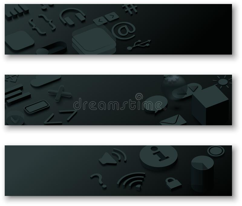 Bandeiras 3d pretas com símbolos da Web ilustração do vetor