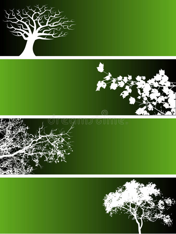 Bandeiras da árvore ilustração royalty free