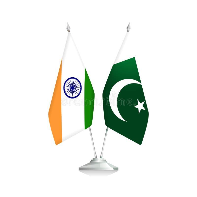 Bandeiras da Índia e do Paquistão ilustração do vetor