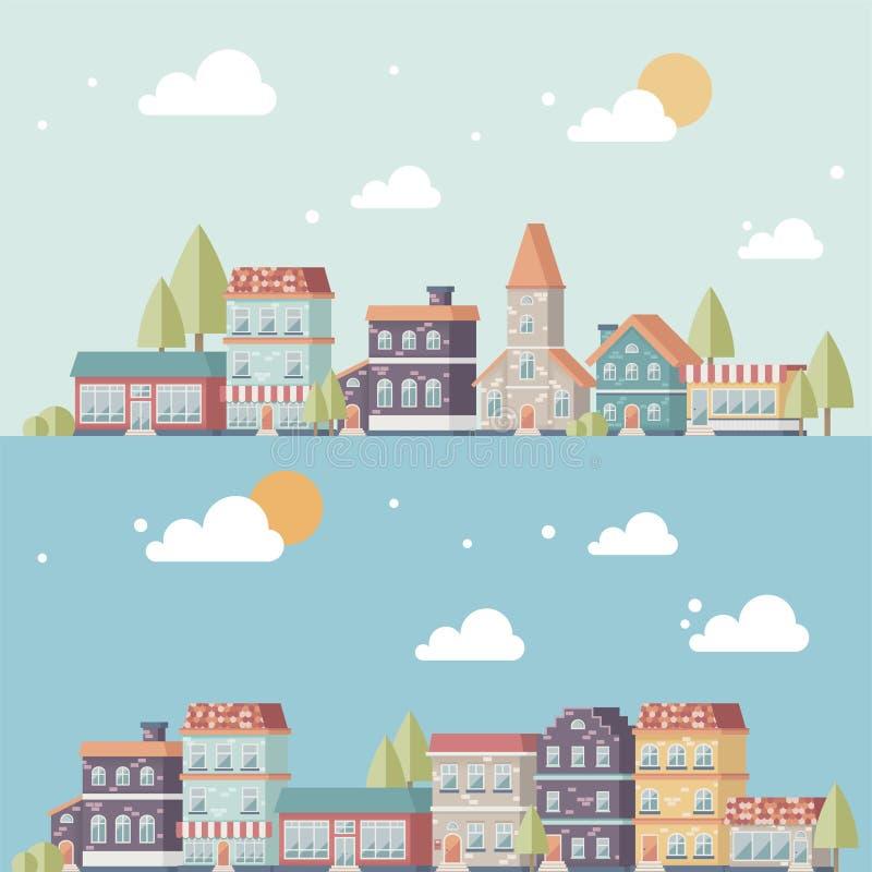 Bandeiras da arquitetura da cidade ilustração do vetor