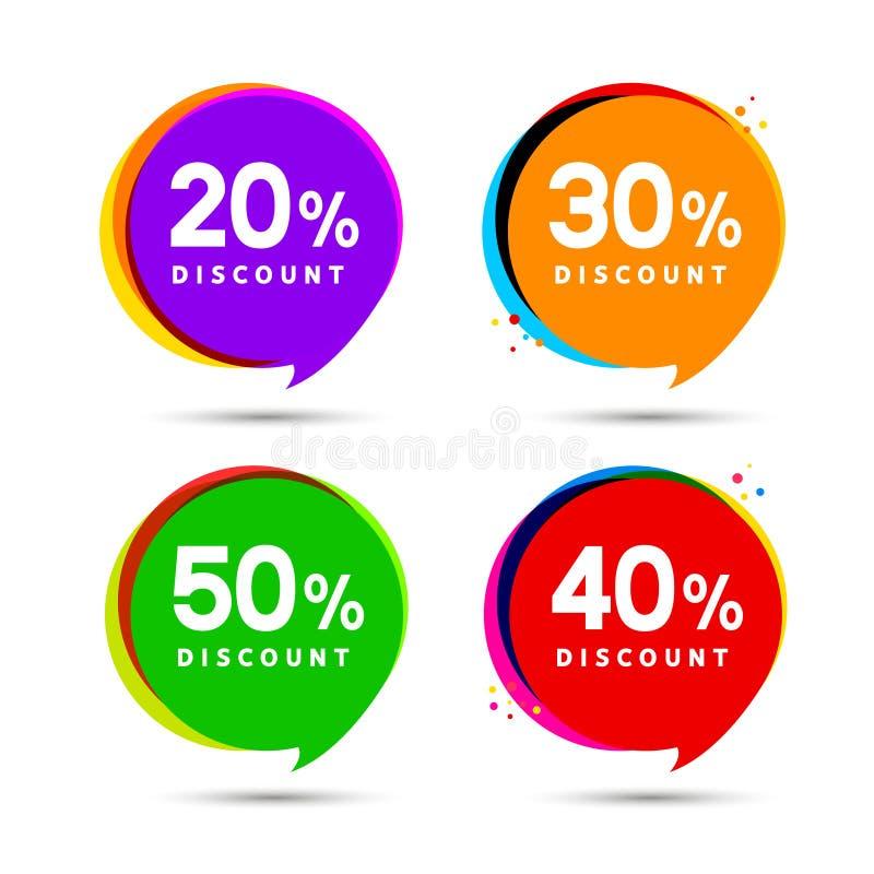 Bandeiras da bolha da venda do preço com desconto Etiqueta dos preços Projeto liso do sinal da promoção da oferta especial ilustração stock
