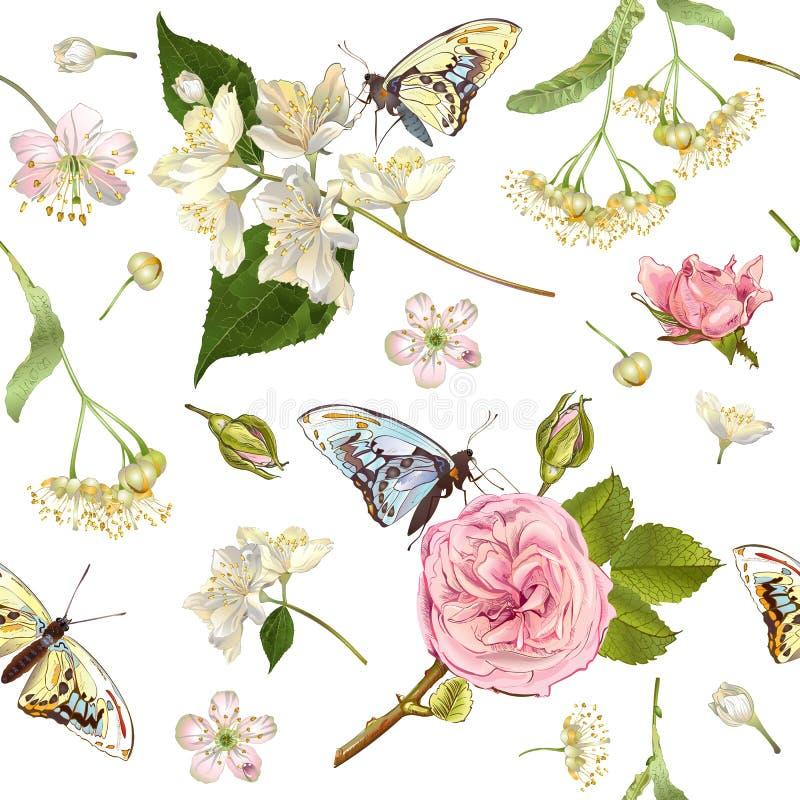 Bandeiras da borboleta da flor ilustração do vetor