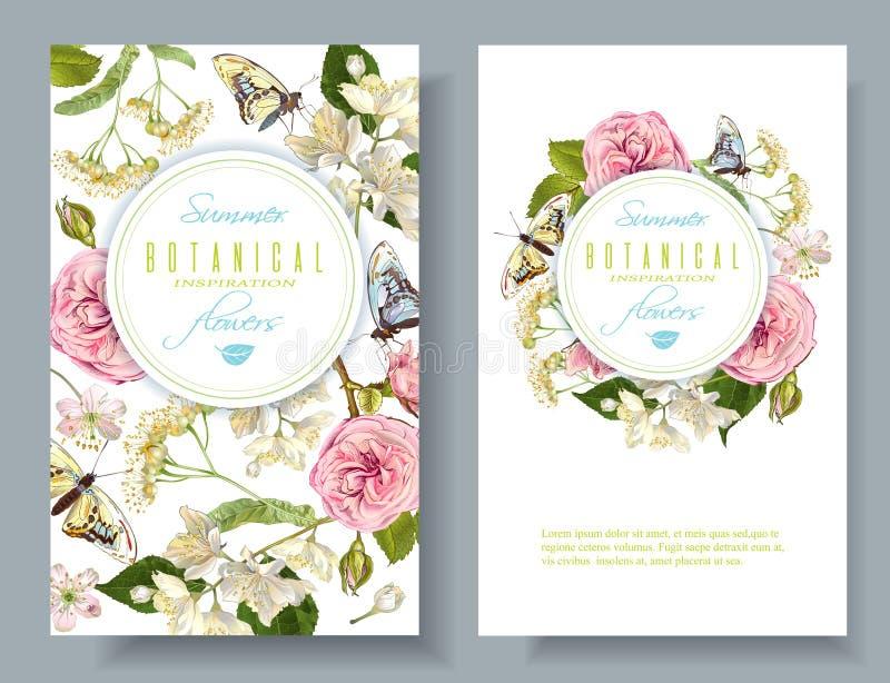 Bandeiras da borboleta da flor ilustração stock