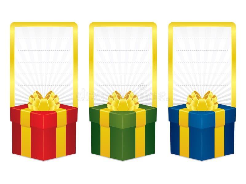 Bandeiras da caixa de presente do vetor ilustração stock
