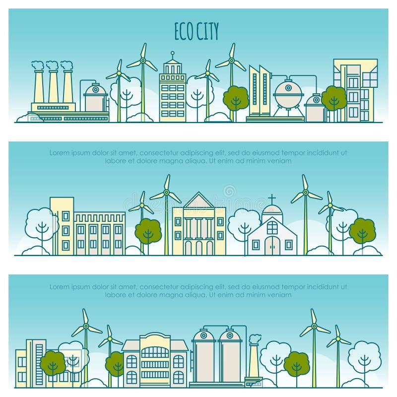 Bandeiras da cidade da ecologia Vector o molde com linha fina ícones da tecnologia do eco, sustentabilidade do ambiente local ilustração stock