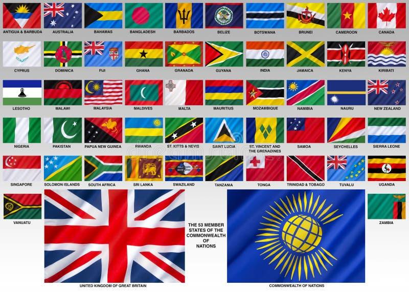 Bandeiras da comunidade das nações imagem de stock royalty free