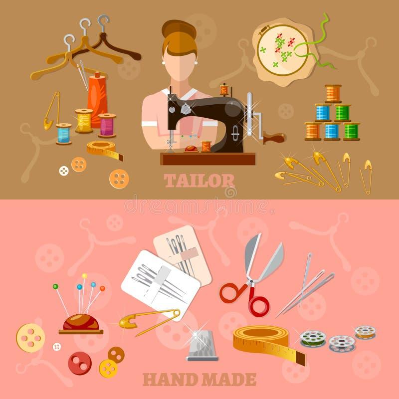 Bandeiras da costureira e do alfaiate que costuram a produção da roupa ilustração royalty free