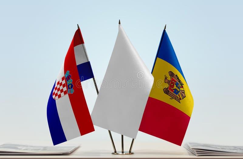 Bandeiras da Croácia e do Moldova imagens de stock royalty free