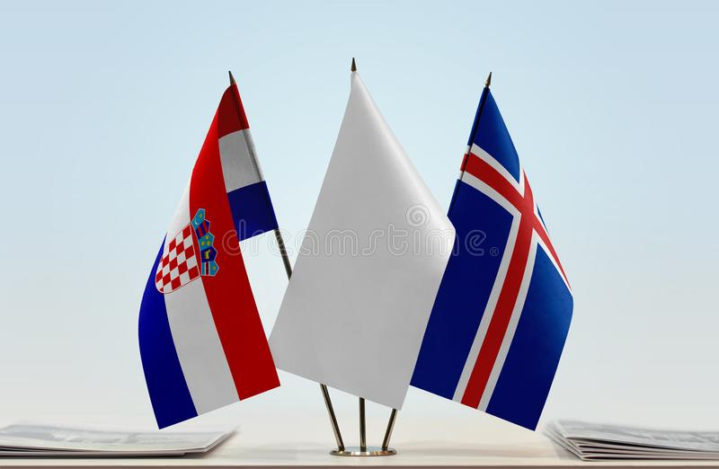 Bandeiras da Croácia e da Islândia fotos de stock
