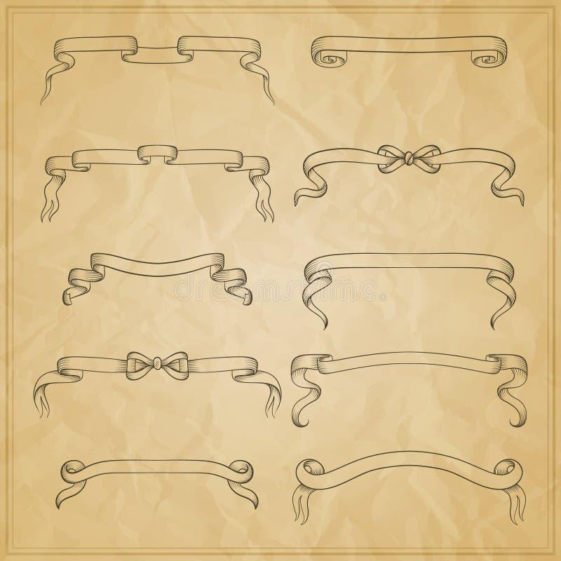 Bandeiras da curva da fita do vintage, grupo tirado mão ilustração royalty free