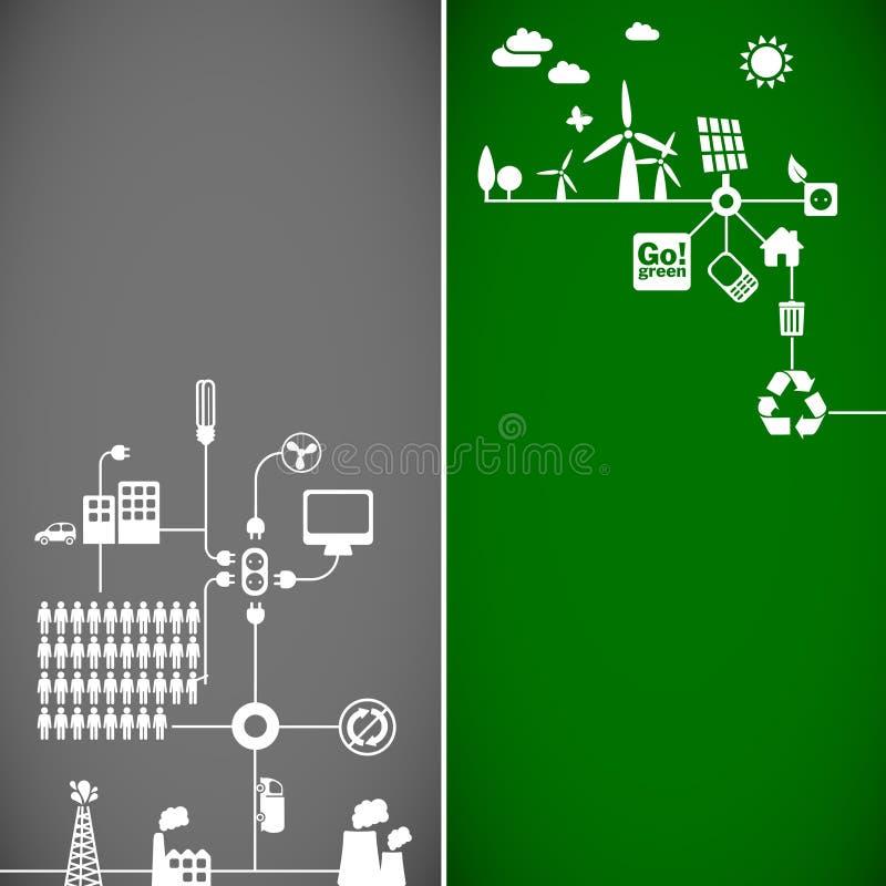Bandeiras da ecologia ilustração stock