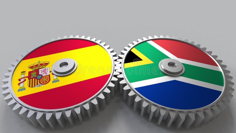 Bandeiras da Espanha e da África do Sul nas engrenagens de engrenagem Rendição 3D conceptual da cooperação internacional ilustração stock