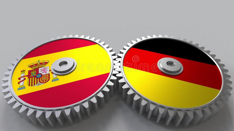 Bandeiras da Espanha e da Alemanha nas engrenagens de engrenagem Rendição 3D conceptual da cooperação internacional ilustração stock