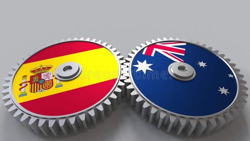 Bandeiras da Espanha e da Austrália nas engrenagens de engrenagem Rendição 3D conceptual da cooperação internacional ilustração do vetor