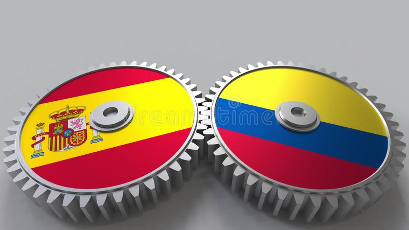 Bandeiras da Espanha e da Colômbia nas engrenagens de engrenagem Rendição 3D conceptual da cooperação internacional ilustração royalty free