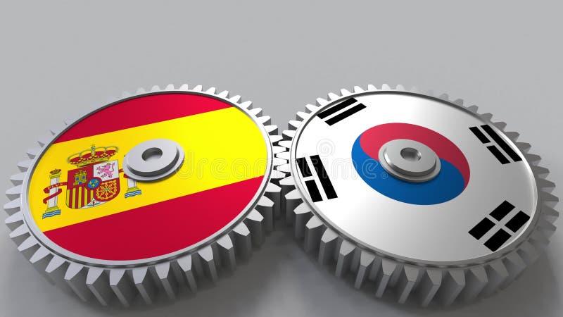 Bandeiras da Espanha e da Coreia nas engrenagens de engrenagem Rendição 3D conceptual da cooperação internacional ilustração stock