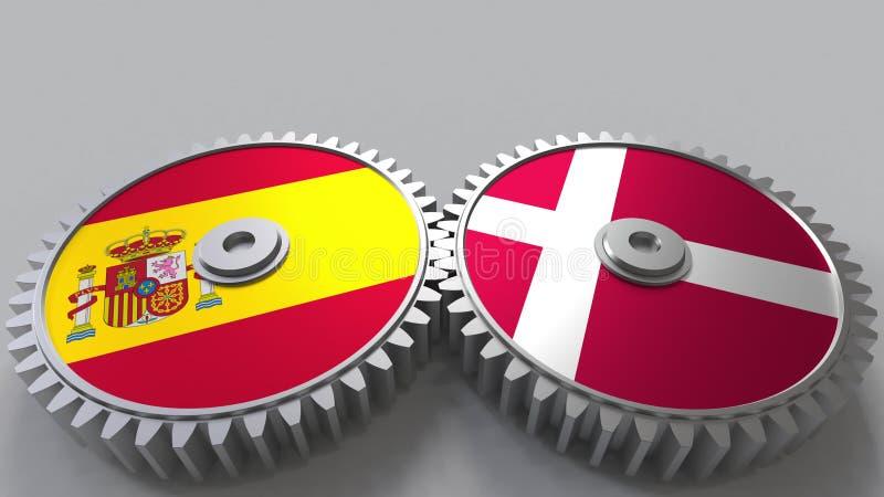 Bandeiras da Espanha e da Dinamarca nas engrenagens de engrenagem Rendição 3D conceptual da cooperação internacional ilustração do vetor