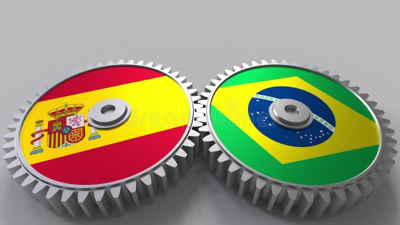 Bandeiras da Espanha e do Brasil nas engrenagens de engrenagem Rendição 3D conceptual da cooperação internacional ilustração stock
