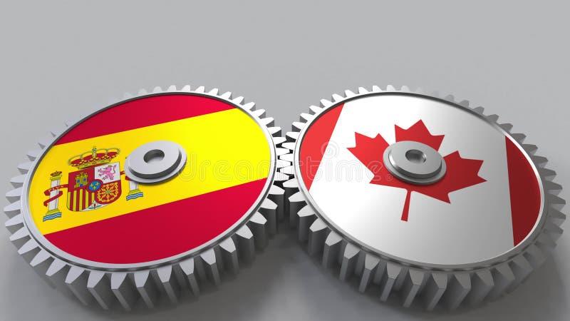 Bandeiras da Espanha e do Canadá nas engrenagens de engrenagem Rendição 3D conceptual da cooperação internacional ilustração royalty free