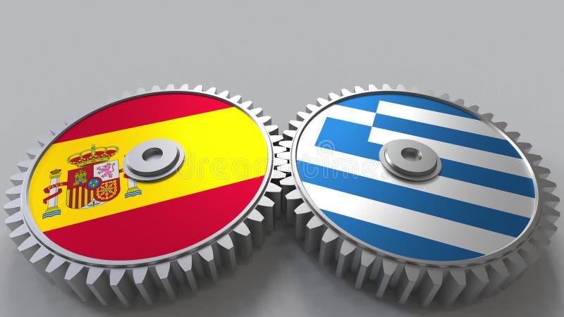 Bandeiras da Espanha e do Grécia nas engrenagens de engrenagem Rendição 3D conceptual da cooperação internacional ilustração do vetor