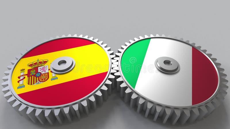 Bandeiras da Espanha e do Itália nas engrenagens de engrenagem Rendição 3D conceptual da cooperação internacional ilustração do vetor