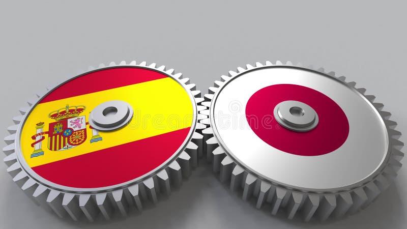 Bandeiras da Espanha e do Japão nas engrenagens de engrenagem Rendição 3D conceptual da cooperação internacional ilustração do vetor